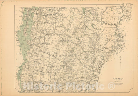 Historic Map : Vermont 1905 , Northeast U.S. State & City Maps , Vintage Wall Art