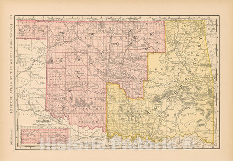 Historic Map : United States Maps, Oklahoma 1894 , Vintage Wall Art