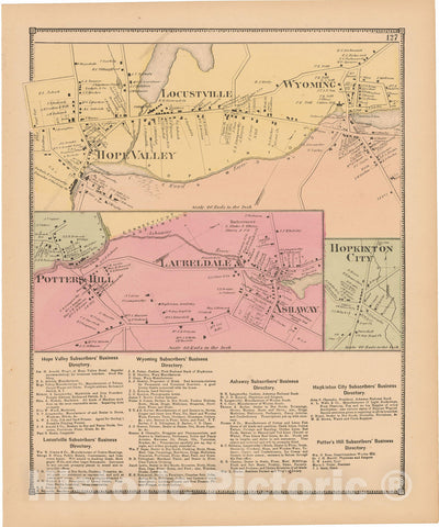 Historic Map : Atlas State of Rhode Island, Laureldale & Locustville & Potters Hill & Wyoming 1870 , Vintage Wall Art