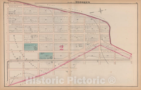 Historic Map : Combined Atlas State of New Jersey & The County of Hudson, Hoboken 1873 Plate E , Vintage Wall Art