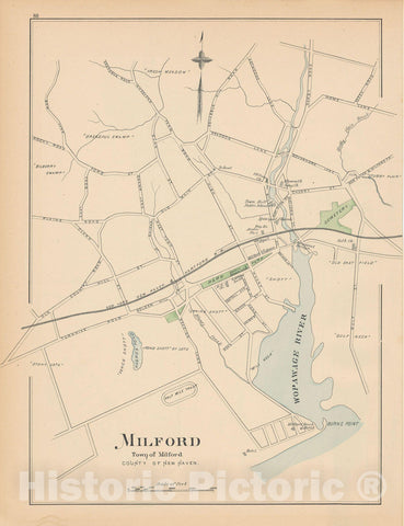 Historic Map : Milford 1893 , Town and City Atlas State of Connecticut , Vintage Wall Art