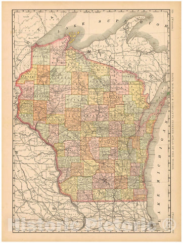 Historic Map : United States Maps, Wisconsin 1894 , Vintage Wall Art
