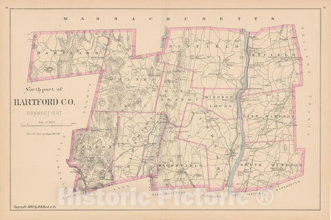 Historic Map : Hartford 1893 , Town and City Atlas State of Connecticut , v4, Vintage Wall Art
