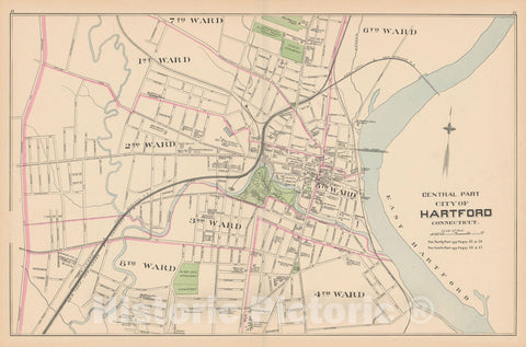 Historic Map : Hartford 1893 , Town and City Atlas State of Connecticut , v3, Vintage Wall Art