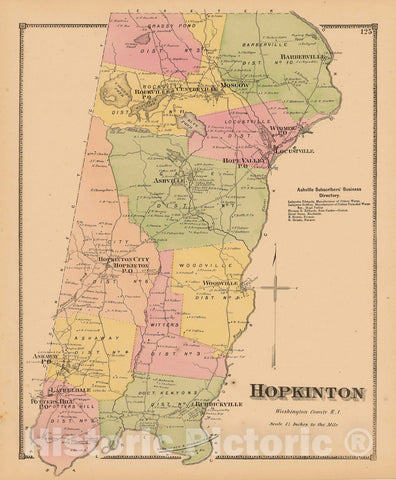 Historic Map : Atlas State of Rhode Island, Hopkinton 1870 , Vintage Wall Art