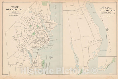 Historic Map : New London 1893 , Town and City Atlas State of Connecticut , v3, Vintage Wall Art
