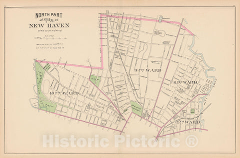 Historic Map : New Haven 1893 , Town and City Atlas State of Connecticut , v2, Vintage Wall Art