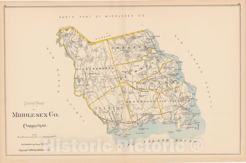 Historic Map : Middlesex 1893 , Town and City Atlas State of Connecticut , v2, Vintage Wall Art
