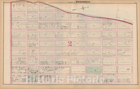 Historic Map : Combined Atlas State of New Jersey & The County of Hudson, Hoboken 1873 Plate C , Vintage Wall Art