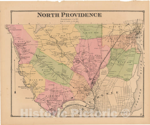 Historic Map : Atlas State of Rhode Island, North Providence 1870 , Vintage Wall Art