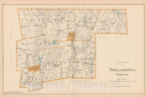 Historic Map : Tolland 1893 , Town and City Atlas State of Connecticut , Vintage Wall Art