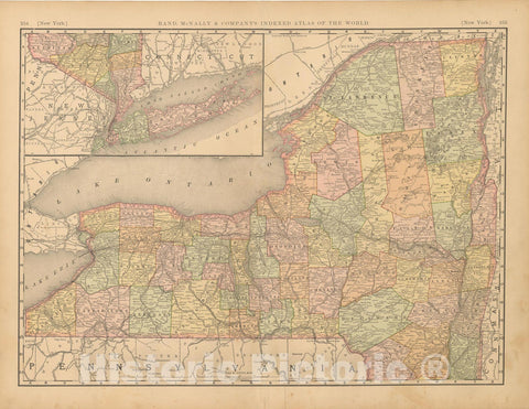 Historic Map : United States Maps, New York 1894 , Vintage Wall Art