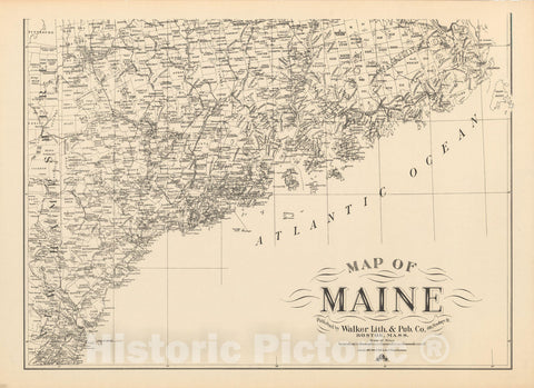 Historic Map : Southern Maine 1908 , Northeast U.S. State & City Maps , Vintage Wall Art