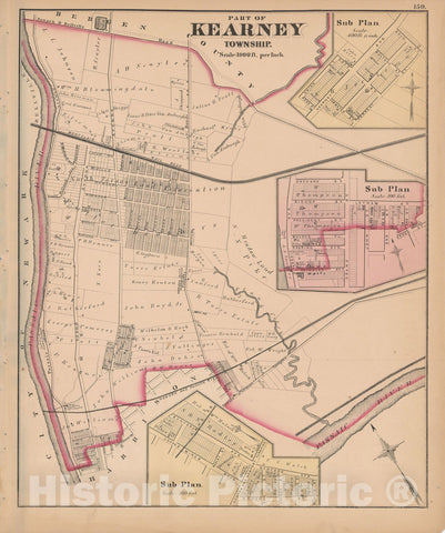Historic Map : Combined Atlas State of New Jersey & The County of Hudson, Kearny 1873 , Vintage Wall Art