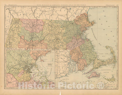 Historic Map : United States Maps, Massachusetts 1894 , Vintage Wall Art