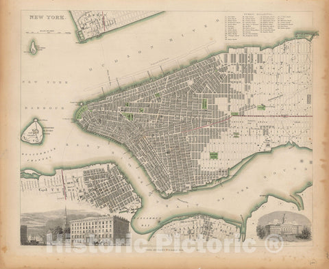 Historic Map : New York, New York City 1850 , Nirenstein's National Preferred Real Estate Locations of Business Properties , Vintage Wall Art