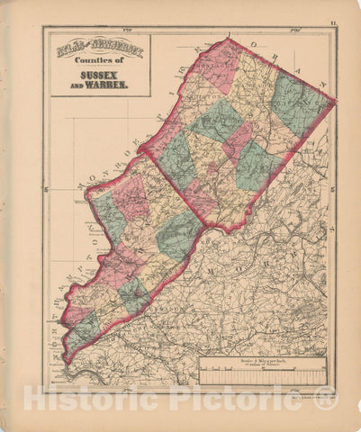 Historic Map : Sussex & Warren 1873 Combined Atlas State of New Jersey & The County of Hudson, , Vintage Wall Art