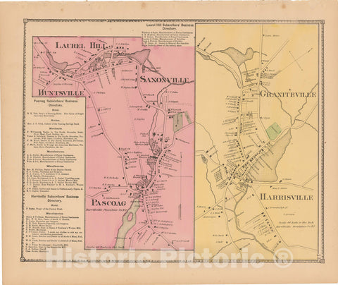 Historic Map : Atlas State of Rhode Island, Graniteville & Harrisville & Pascoag 1870 , Vintage Wall Art
