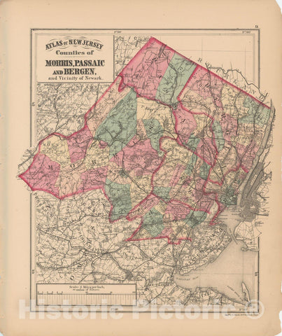 Historic Map : Combined Atlas State of New Jersey & The County of Hudson, Bergen & Morris & Passaic 1873 , Vintage Wall Art