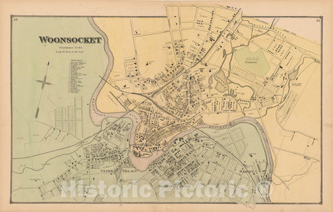 Historic Map : Atlas State of Rhode Island, Woonsocket 1870 , Vintage Wall Art