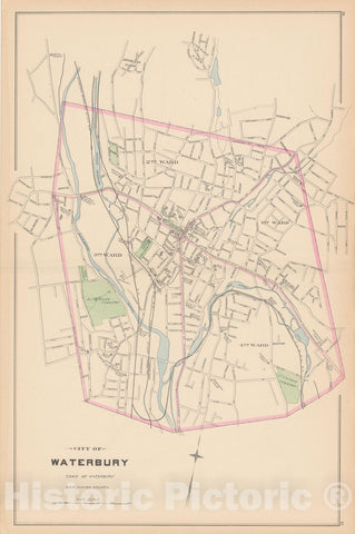 Historic Map : Waterbury 1893 , Town and City Atlas State of Connecticut , Vintage Wall Art