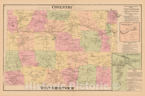 Historic Map : Atlas State of Rhode Island, Coventry & West Greenwich 1870 , Vintage Wall Art