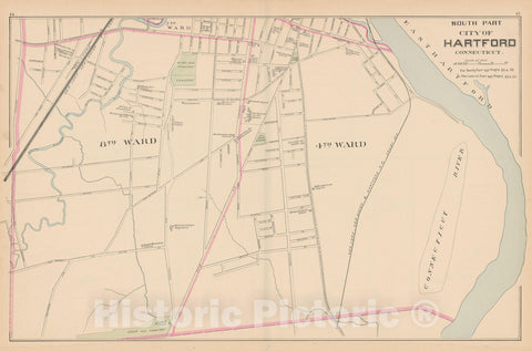 Historic Map : Hartford 1893 , Town and City Atlas State of Connecticut , v2, Vintage Wall Art