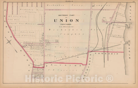 Historic Map : Combined Atlas State of New Jersey & The County of Hudson, Union 1873 Plate B , Vintage Wall Art