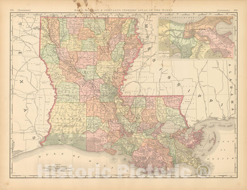 Historic Map : United States Maps, Louisiana 1894 , Vintage Wall Art
