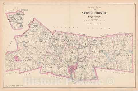 Historic Map : New London 1893 , Town and City Atlas State of Connecticut , v2, Vintage Wall Art