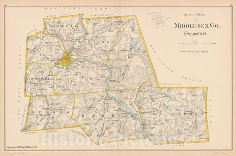 Historic Map : Middlesex 1893 , Town and City Atlas State of Connecticut , Vintage Wall Art