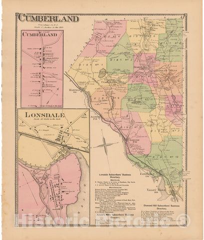 Historic Map : Atlas State of Rhode Island, Cumberland & Lonsdale 1870 , Vintage Wall Art