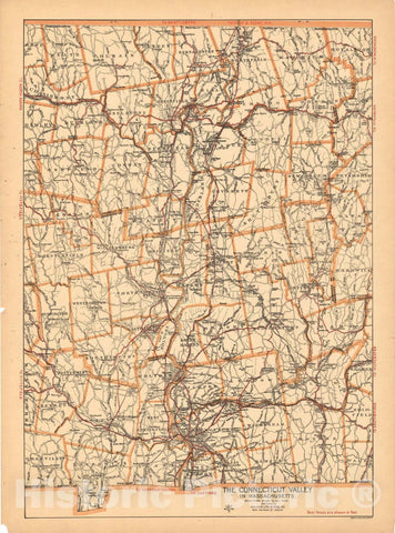 Historic Map : The Connecticut Valley in Massachusetts 1910 , Northeast U.S. State & City Maps , Vintage Wall Art