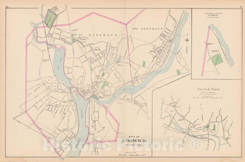Historic Map : Norwich 1893 , Town and City Atlas State of Connecticut , Vintage Wall Art