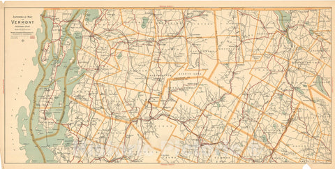 Historic Map : Vermont 1910 , Northeast U.S. State & City Maps , Vintage Wall Art