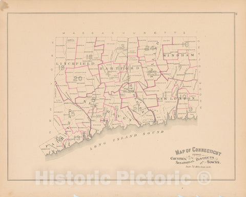 Historic Map : Town and City Atlas State of Connecticut, Connecticut 1893 , v3, Vintage Wall Art