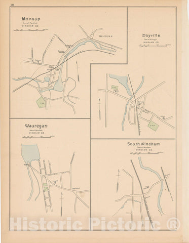 Historic Map : Killingly & Plainfield & Windham 1893 , Town and City Atlas State of Connecticut , Vintage Wall Art