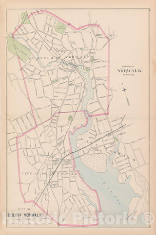 Historic Map : Norwalk & South Norwalk 1893 , Town and City Atlas State of Connecticut , Vintage Wall Art