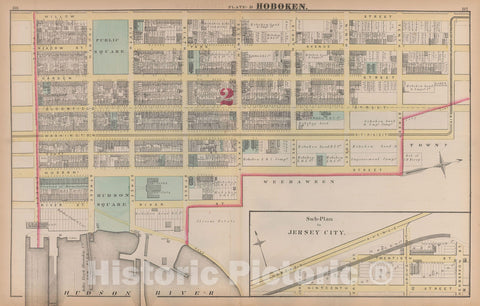 Historic Map : Combined Atlas State of New Jersey & The County of Hudson, Hoboken 1873 Plate D , Vintage Wall Art