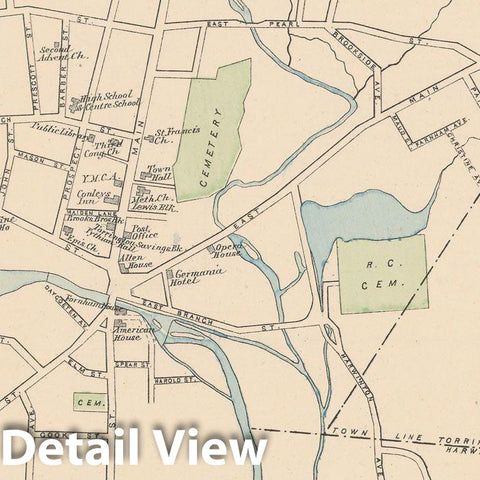 Historic Map : Torrington 1893 , Town and City Atlas State of Connecticut , Vintage Wall Art