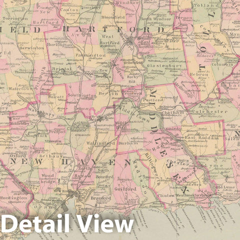 Historic Map : Town and City Atlas State of Connecticut, Connecticut 1893 , v2, Vintage Wall Art