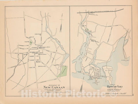 Historic Map : New Canaan & Norwalk 1893 , Town and City Atlas State of Connecticut , Vintage Wall Art