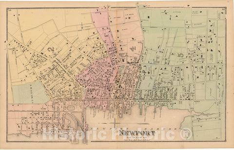Historic Map : Atlas State of Rhode Island, Newport 1870 , Vintage Wall Art
