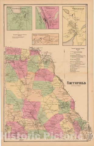 Historic Map : Atlas State of Rhode Island, Georgiaville & Greenville & Smithfield 1870 , Vintage Wall Art