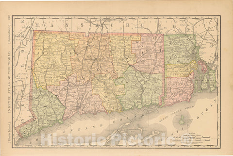 Historic Map : United States Maps, Connecticut 1894 , Vintage Wall Art