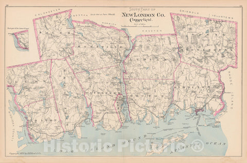 Historic Map : New London 1893 , Town and City Atlas State of Connecticut , Vintage Wall Art