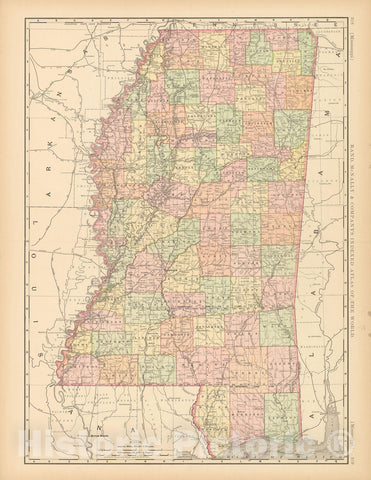 Historic Map : United States Maps, Mississippi 1894 , Vintage Wall Art
