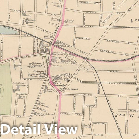 Historic Map : New Britain 1893 , Town and City Atlas State of Connecticut , Vintage Wall Art