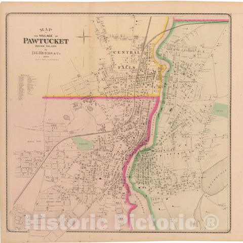 Historic Map : Atlas State of Rhode Island, Central Falls & Pawtucket 1870 , Vintage Wall Art