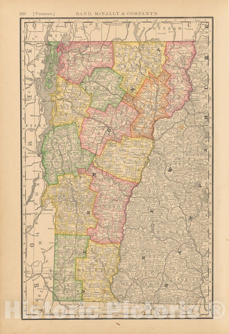 Historic Map : United States Maps, Vermont 1894 , Vintage Wall Art